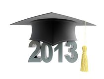 Graduation cap 2013. On a white background Stock Photo