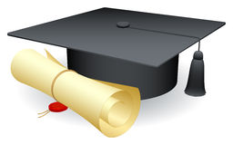 Graduation cap. Graduation cap and scroll of diploma Royalty Free Stock Images