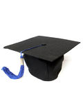 Graduation cap. With blue tassel detail isolated on the white background stock photo