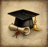 Graduation Cap And Diplo Royalty Free Stock Photography