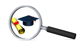 Graduation Cap And Scroll With Magnifying Glass Royalty Free Stock Photography