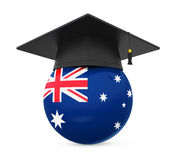 Graduation Cap with Australian Flag. On white background. 3D render Royalty Free Stock Photos