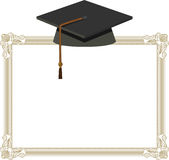 Graduation Cap - Black Mortarboard on Diploma Royalty Free Stock Photo