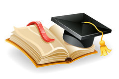 Graduation cap and book. Vector illustration of graduation cap and open book Royalty Free Stock Photos