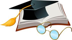 Graduation cap, book and glasses Stock Photo