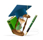 Graduation cap with book, sand clock and pen. Student hat with book, sand clock and pen royalty free illustration