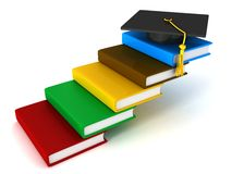 Graduation Cap on Book Stack Ladder Stock Images