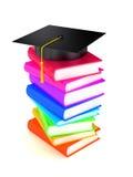 Graduation cap on books. 3d render Stock Photos