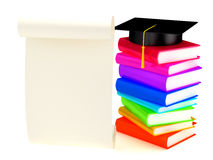 Graduation cap on books. 3d render Royalty Free Stock Image
