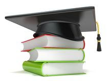 Graduation cap on books. 3D. Render illustration  on white background Royalty Free Stock Photography