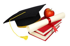 Graduation cap with books and diploma. Isolated on white background Stock Images