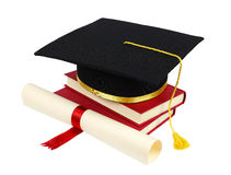 Graduation cap with books and diploma. Isolated on white background Royalty Free Stock Images
