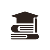 Graduation Cap and books. Education symbol Royalty Free Stock Image