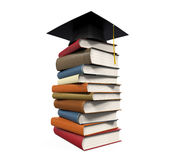 Graduation Cap and Books. Isolated on white background. 3D render Stock Image