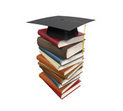 Graduation Cap and Books Stock Photography