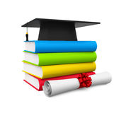 Graduation Cap and Books. Isolated on white background. 3D render Stock Images