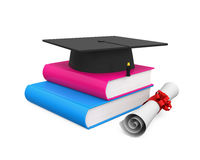 Graduation Cap and Books. Isolated on white background. 3D render Royalty Free Stock Photos