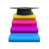 Graduation Cap and Books. Isolated on white background. 3D render Royalty Free Stock Photo