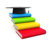 Graduation Cap and Books. Isolated on white background. 3D render Stock Photography