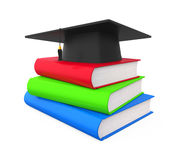 Graduation Cap and Books. Isolated on white background. 3D render Royalty Free Stock Photography