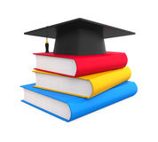 Graduation Cap and Books. Isolated on white background. 3D render Royalty Free Stock Image