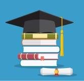 Graduation cap on books stacked, Stock Photos