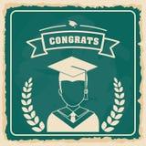 Graduation cap and boy avatar  icon. University design. Vector g Stock Photos