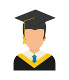 Graduation cap and boy  icon. University design. Vector graphic Royalty Free Stock Photo