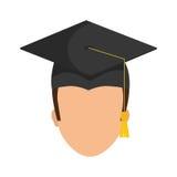 Graduation cap and boy  icon. University design. Vector graphic Royalty Free Stock Photos