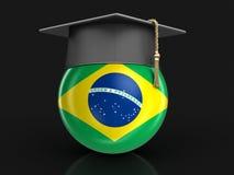 Graduation cap and Brazilian flag Stock Photos
