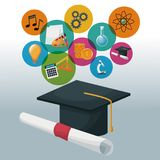 Graduation cap and certificate with bubbles icons academic knowledge. Vector illustration Royalty Free Stock Images