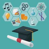 Graduation cap and certificate with gray color geometric abstract figures icons academic knowledge. Vector illustration Stock Photos
