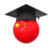Graduation Cap with China Flag stock illustration