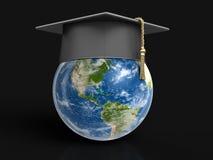 Graduation cap and 3d Globe Stock Photo