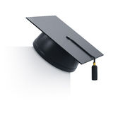 Graduation cap. 3d render of graduation cap and blank board. Isolated on white background Stock Photos