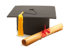 Graduation Cap with Degree Royalty Free Stock Photo