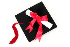 Graduation cap and diploma Royalty Free Stock Images