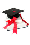Graduation cap and diploma Royalty Free Stock Photography