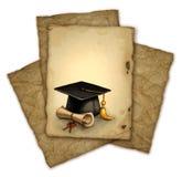 Graduation cap and diploma Stock Photos