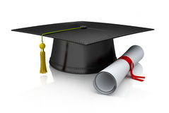 Graduation cap and diploma vector illustration