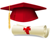 Graduation cap and diploma Stock Photography
