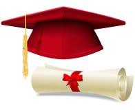 Graduation cap and diploma stock illustration