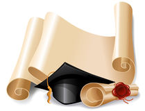 Graduation cap and diploma Royalty Free Stock Image