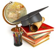 Graduation cap, diploma, books, globe. Graduation cap, diploma, stack of books, globe, and various colour pencils in cup. Conceptual illustration. Isolated on Royalty Free Stock Image