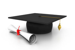 Graduation cap with diploma Royalty Free Stock Photo