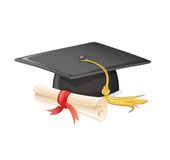 Graduation cap and diploma. This is file of EPS10 format Royalty Free Stock Photo