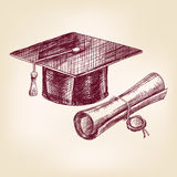 Graduation cap and diploma hand drawn vector Stock Image