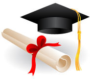 Graduation cap and diploma Royalty Free Stock Photos