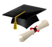 Graduation cap and diploma Stock Images
