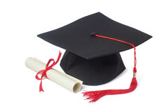 Graduation cap and diploma. Graduation cap with diploma isolated on white background Stock Image